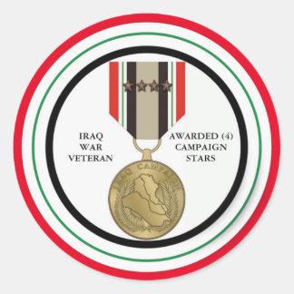 4 CAMPAIGN STARS IRAQ WAR VETERAN STICKERS