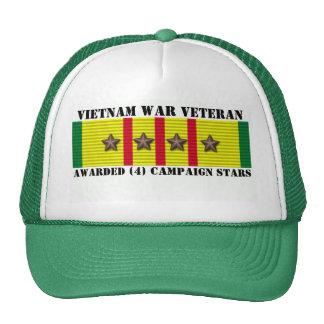4 CAMPAIGN STARS VIETNAM WAR VETERAN TRUCKER HAT