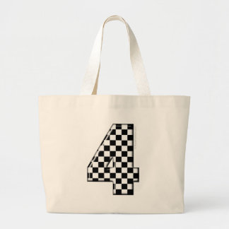 4 checkered auto racing number canvas bag