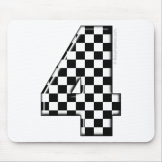 4 checkered auto racing number mouse mat