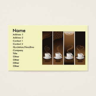 4 Coffee Cups in vector, Name, Address 1, Addre... Business Card