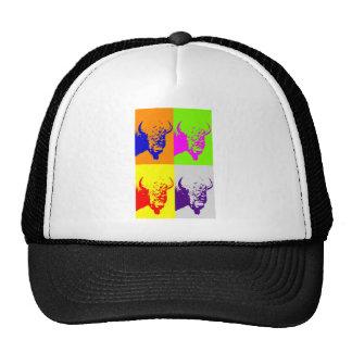 4 Color Pop Art Buffalo Bison Hats