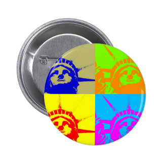 4 Color Pop Art Lady Liberty 6 Cm Round Badge