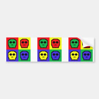 4 Color Retro 8-bit Skulls Bumper Stickers