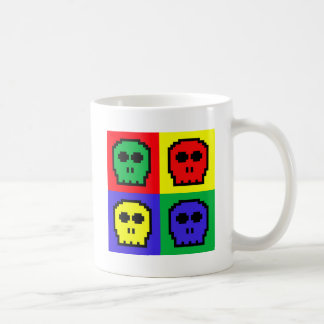 4 Color Retro 8-bit Skulls Coffee Mugs