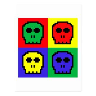 4 Color Retro 8-bit Skulls Postcard