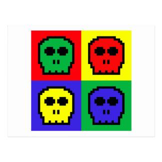 4 Color Retro 8-bit Skulls Post Card