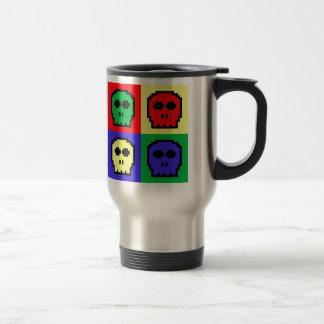 4 Color Retro 8-bit Skulls Stainless Steel Travel Mug
