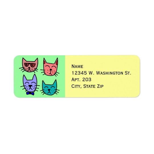 4 Colourful Funny Cute Cartoon Cat Faces Return Address Label