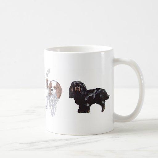 4 colours of Cavalier King Charles Spaniels. Mug