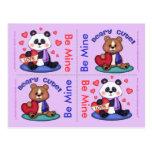 4 Cute Teddy Bear Valentine Flat Cards Post Cards