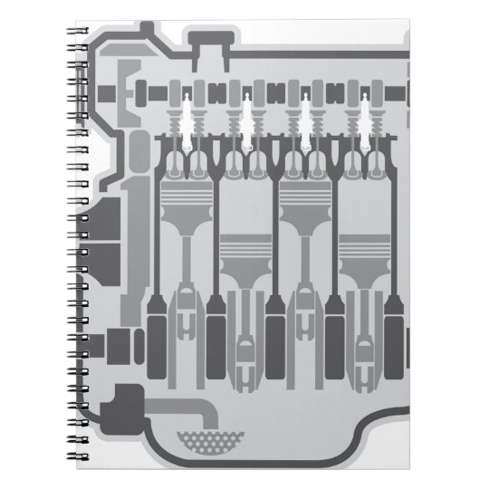 4 cylinder engine vector notebooks