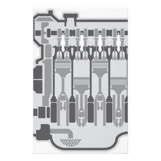 4 cylinder engine vector personalized stationery