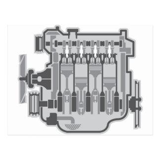 4 cylinder engine vector postcard