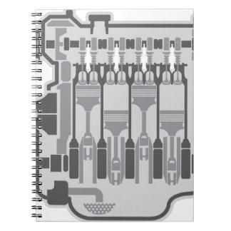 4 cylinder engine vector spiral note books
