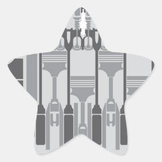 4 cylinder engine vector star sticker