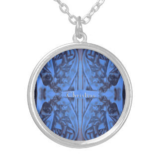 4 Figures Abstract in Blue with Name Silver Plated Necklace