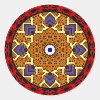 4 Flames Round Shield Alternate Round Sticker