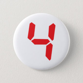4 four red alarm clock digital number 6 cm round badge