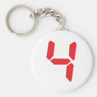 4 four red alarm clock digital number basic round button key ring