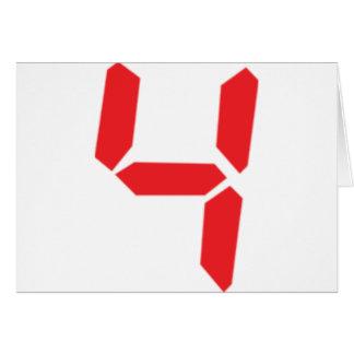 4 four red alarm clock digital number greeting card
