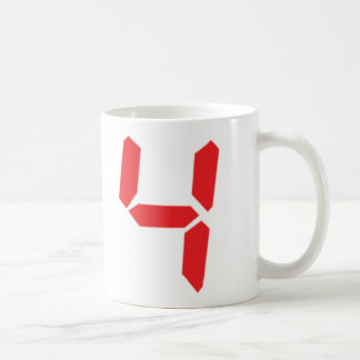 4 four red alarm clock digital number mugs