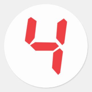 4 four red alarm clock digital number round sticker