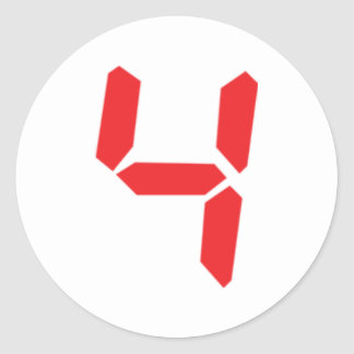 4 four red alarm clock digital number stickers