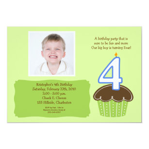4 year old birthday invitations announcements zazzle 4 four year old cupcake photo birthday invite filmwisefo