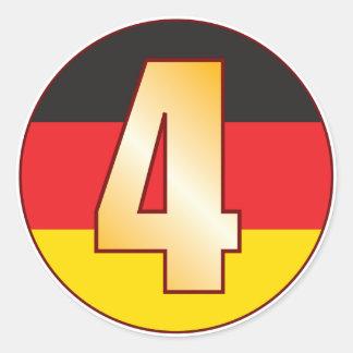 4 GERMANY Gold Round Sticker