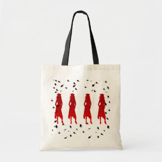 4 Grad Girl Silhouettes in Red Canvas Bags