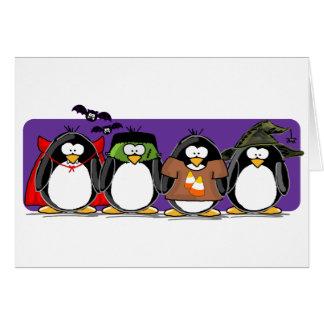 4 Halloween Penguins Card