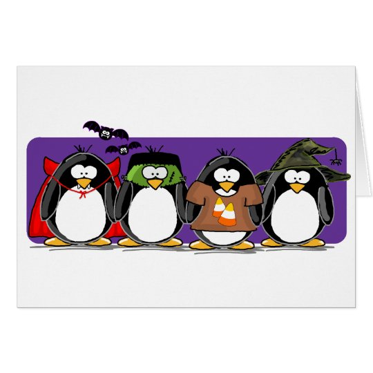 4 Halloween Penguins Card