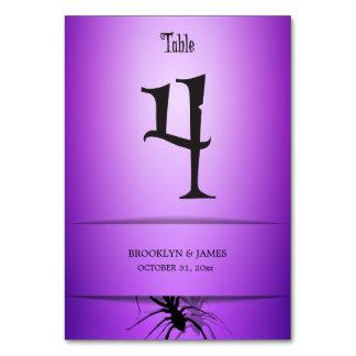 4 Halloween Wedding Table Numbers Purple Spider Table Card