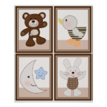 4 in 1 B is for Bear 8x10 inch Nursery Art/Poster Poster