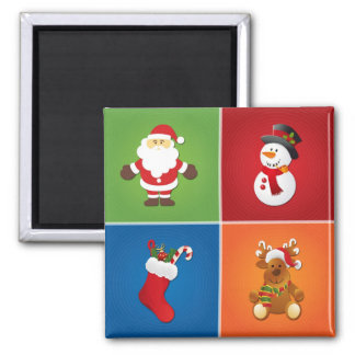 4-in-1 Christmas Santa Claus Stocking Snowman Deer Magnets