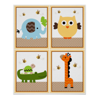 4 in 1 Jungle Stack 8x10 inch Nursery Art/Poster Poster