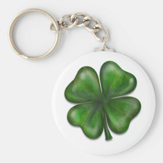 4 leaf clover basic round button key ring