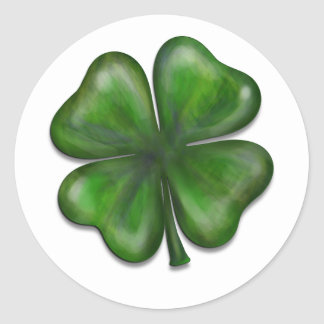 4 leaf clover round sticker