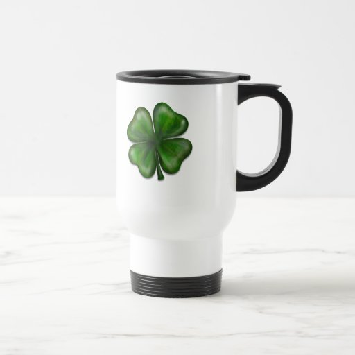 4 leaf clover stainless steel travel mug