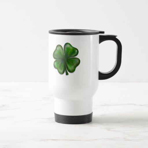 4 leaf clover stainless steel travel mug