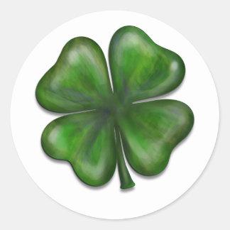 4 leaf clover round sticker