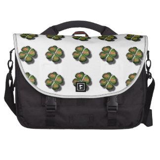 4 Leaf Clover with Hope Faith Love and Luck Computer Bag