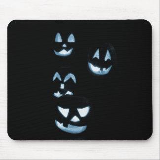 4 Lit Jack-O-Lanterns - Blue Mouse Pads