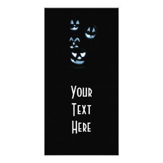 4 Lit Jack-O-Lanterns - Blue Customized Photo Card