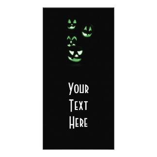 4 Lit Jack-O-Lanterns - Green Customized Photo Card