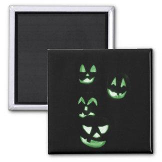 4 Lit Jack-O-Lanterns - Green Square Magnet