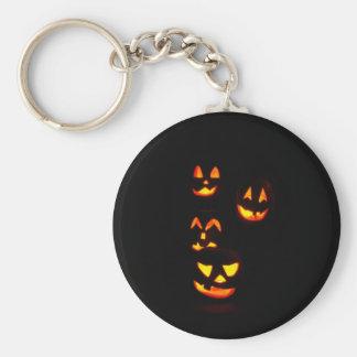 4 Lit Jack-O-Lanterns - Orange Basic Round Button Key Ring