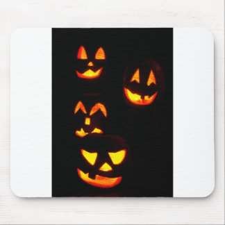 4 Lit Jack-O-Lanterns - Orange Mouse Pad