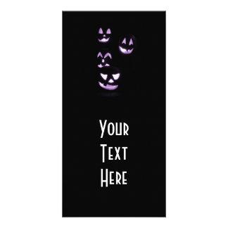 4 Lit Jack-O-Lanterns - Purple Customized Photo Card